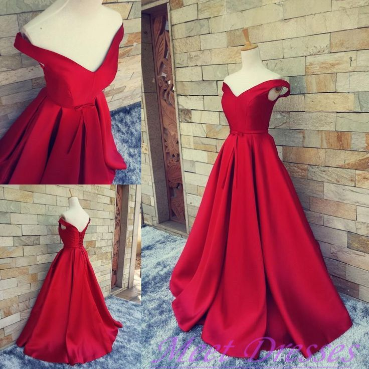2016 Simple Ball Gown Off The Shoulder Red Satin Prom Dress Fitted Corset Formal Gown Evening Gowns For Teens