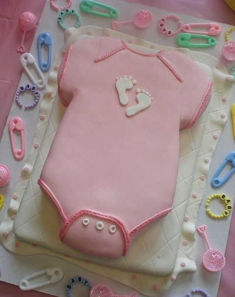 Baby girl shower cake - pink baby cloth