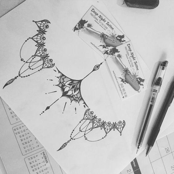 Lace Sternum Design Tattoo | Sternum Tattoo Design | Deep Night Tattoo | Pinterest | Sternum Tattoo ...