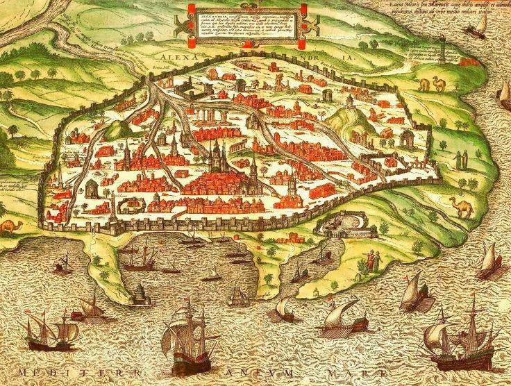 Osmanlı dönemi Mısır İskenderiye'yi gösterir bir gravür. (Ottoman time Egypt Alexandria)