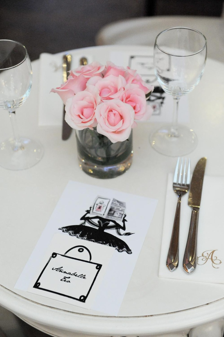 The table is all set to dine, completed with a La Petite Robe Noire menu