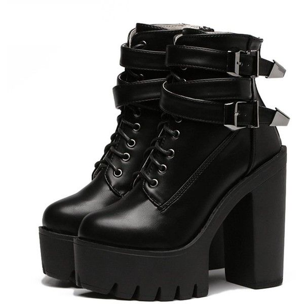 APRIL FLASH SALE- BUCKLE HIGH TOP BOOTS (£47) ❤ liked on Polyvore featuring shoes, boots, high top leather boots, high heel platform boots, leather high heel boots, high heel shoes and real leather boots