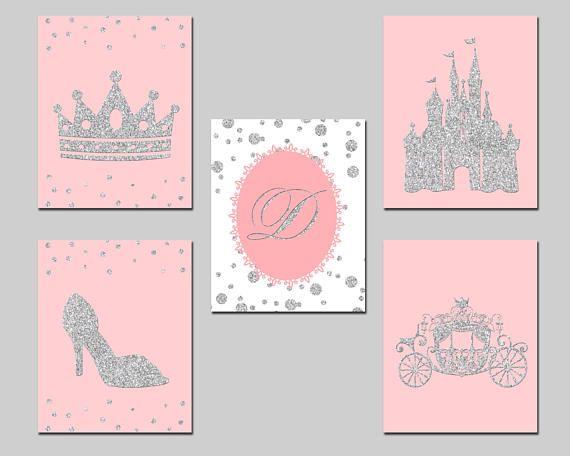 Printable set pink and silver glitter girl nursery princess