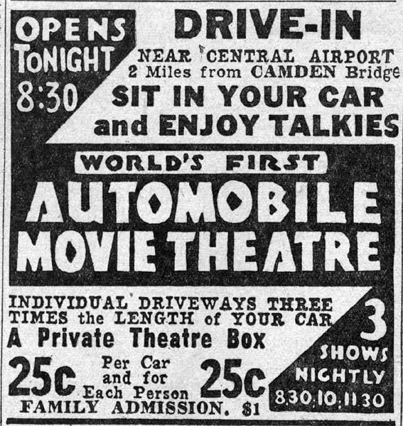 """1st Drive in theater opens on June 6, 1933 in Camden, New Jersey. The opening film was a British comedy """"Wives Beware"""""""