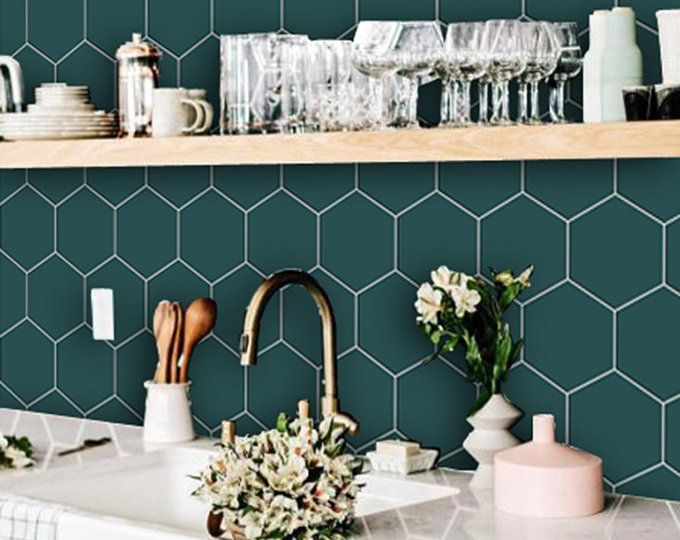 Kitchen And Bathroom Splashback Removable Vinyl Wallpaper Hexa