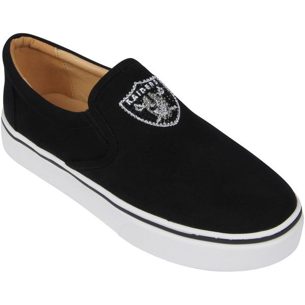 Oakland Raiders Cuce Women's Suede Slip On Shoe - Black - $69.99