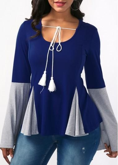 #ModLily - #unsigned Tie Neck Flare Sleeve Color Block Blouse - AdoreWe.com