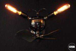 Lampe Tractor creation unique ventilateur steampunk loft 5  / strange Steampunk Industrial Tractor lamp made from vintage stuff