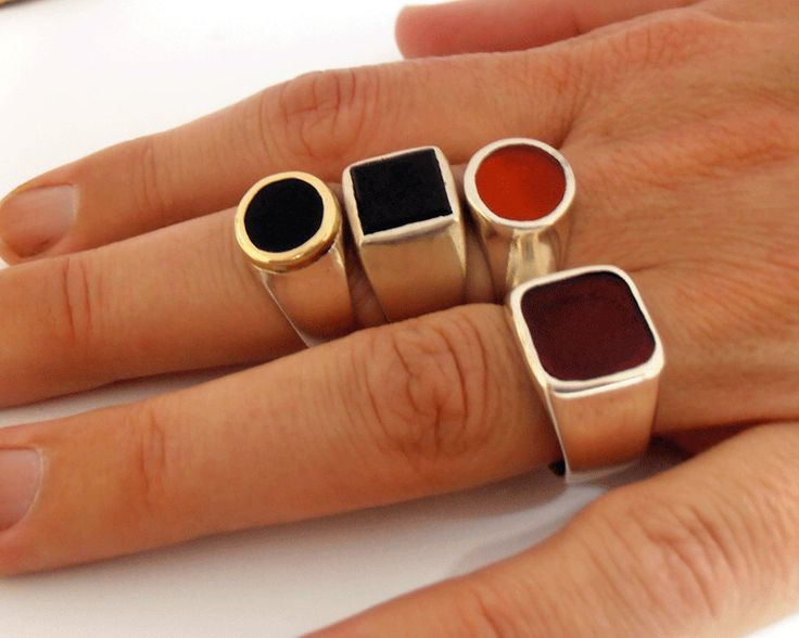 Signet rings.Sterling silver Pinky  ring Genuine Red Carnelian or Black onyx Signet  rings. Price for one ring.made in israel jewelry. by SmoochyangelsJewelry on Etsy https://www.etsy.com/listing/262595203/signet-ringssterling-silver-pinky-ring