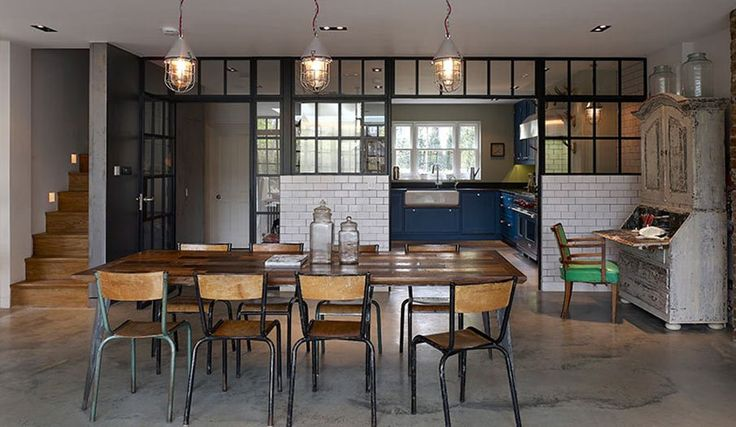 "concrete flour, steel windows _ dining space _ ""a House in Ealing"" by Stiff + Trevillion"