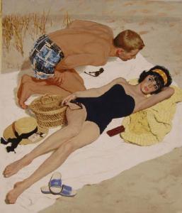 Illustration by Kurt Ard. Summer romance by the sea.