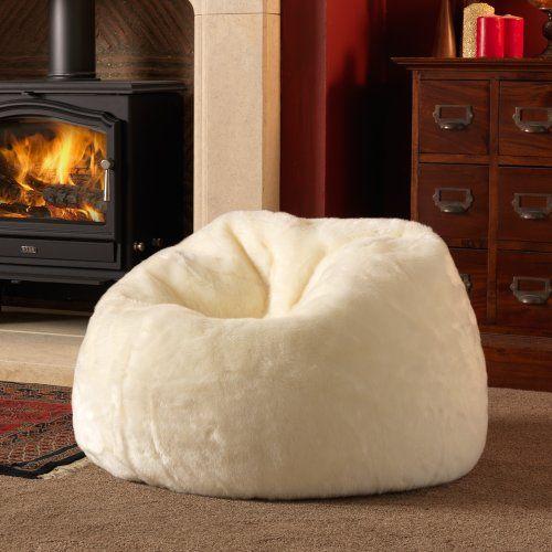 ICON Large Bean Bag Classic - Luxury Faux Fur Bean Bags - Designer Bean Bags NATURAL