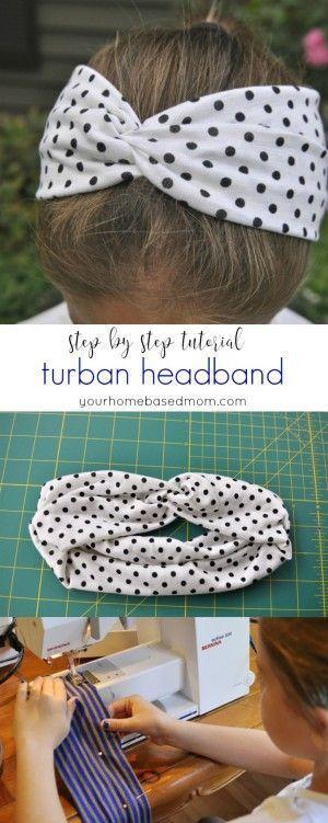 Turban Headband Step by Step Tutorial @yourhomebasedmom.com                                                                                                                                                                                 More