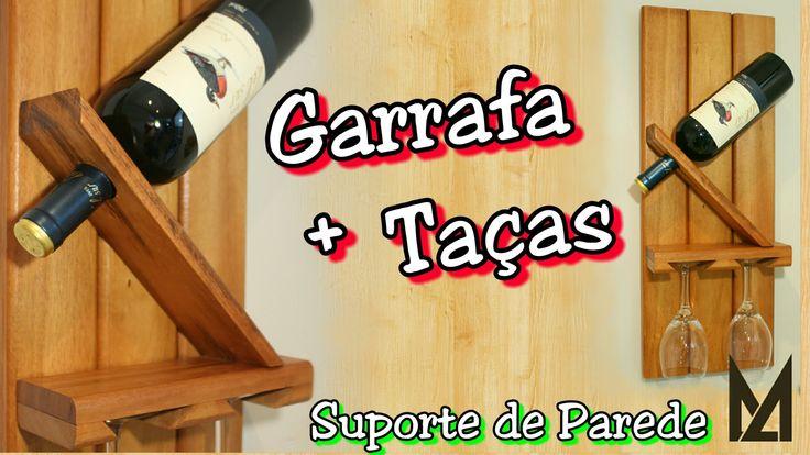 Adega de Parede - Suporte de Garrafa & Taças de Vinho