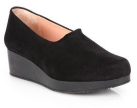 $201, Black Suede Platform Loafers: Robert Clergerie Suede Slip On Wedge Loafers. Sold by Saks Fifth Avenue. Click for more info: https://lookastic.com/women/shop_items/136605/redirect