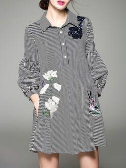 Gray Casual V Neck H-line Shirt Dress
