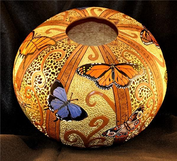 Denise LownArt Carving'S Gourds Wood, Gourd Art, Artworks, Art So, Artists Work, Art Gourds, Butterflies Gourds, Gourds Crafts, Gourds Artists