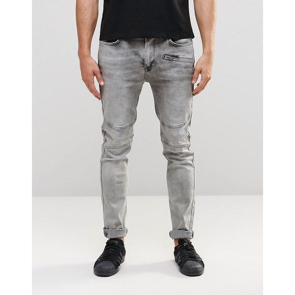 Kubban Super Acid Wash Biker Jean ($70) ❤ liked on Polyvore featuring men's fashion, men's clothing, men's jeans, black, mens acid wash jeans, mens skinny fit jeans, mens flap pocket jeans, tall mens jeans and mens super skinny jeans