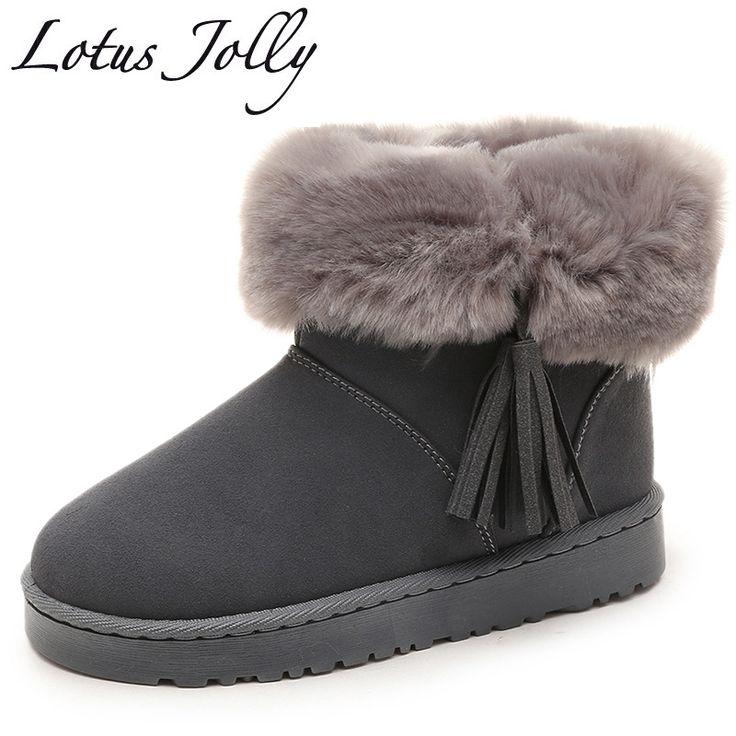Women Boot Flat Chaussures en fourrure en fourrure en fourrure en fourrure en hiver Chaussures en coton UC1KJJFK