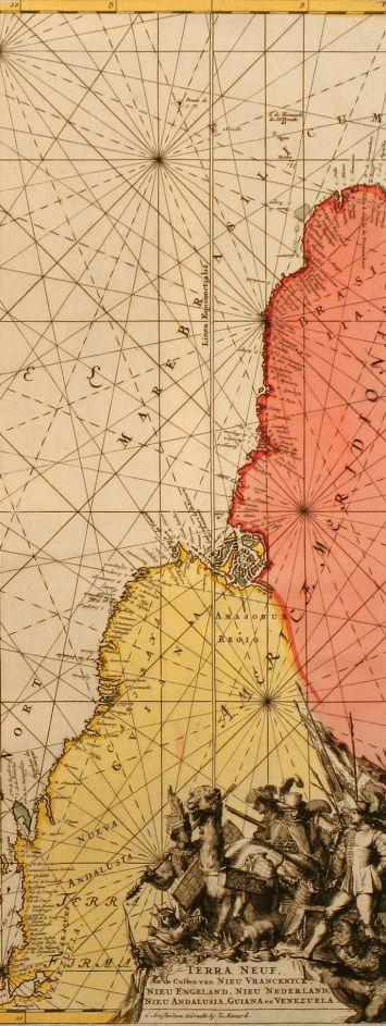 Louis Renard (1678/9-1746), 1715, Detail from 'Terra Neuf, en de Custen van Nieu Vranckryck, Nieu Engeland, Nieu Nederland, Nieu Andalusia, Guiana en Venezuela', Amsterdam, 48.5 x 57.0 cm.