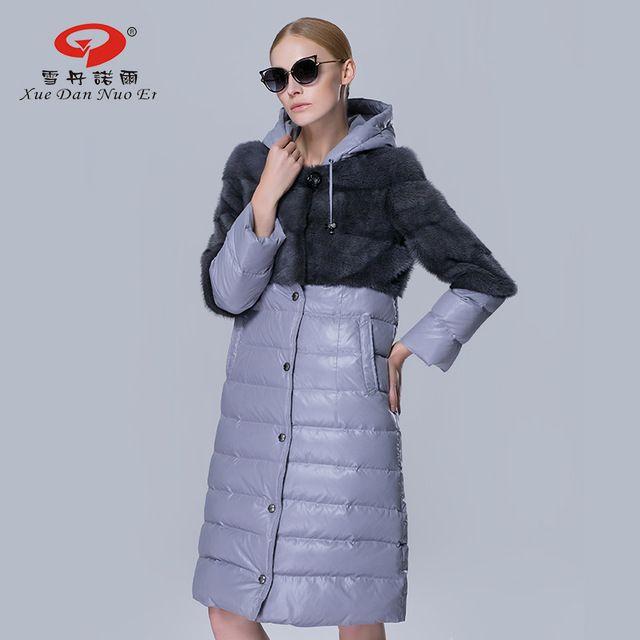 Mulheres inverno casaco grosso quente para baixo casaco de pele de vison real para mulheres moda silm fur outwear com capuz longo parka jaquetas mulher