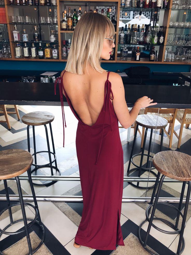 Open back maroon casual dress