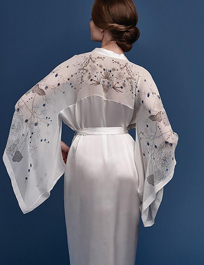 Meng SS15 luxury bridal loungewear - Cherry Blossom print silk georgette satin kimono - white