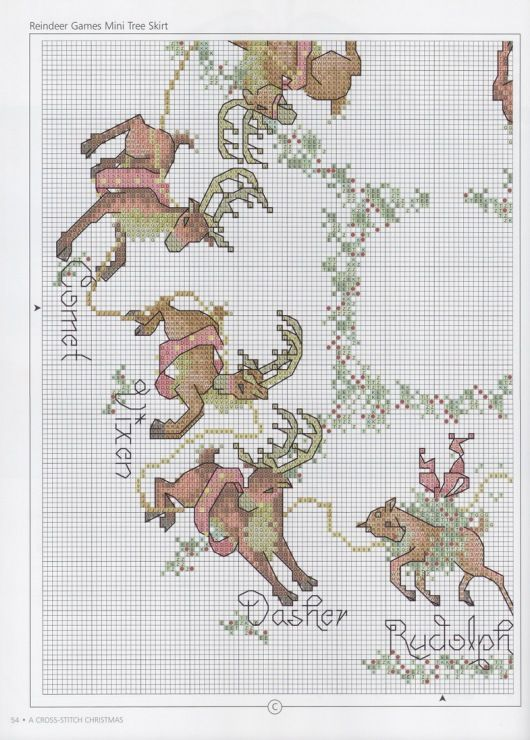 Free Reindeer wreath cross stitch pattern pg 1 #christmas #stitching