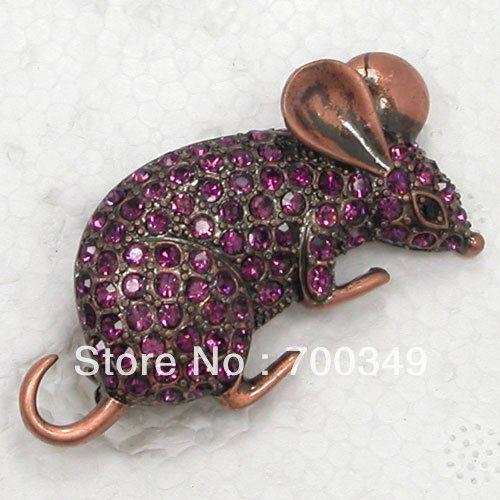 12 piece/lot аметист кристалл горный хрусталь мыши мышь костюм булавка брошь ювелирные изделия C940 D