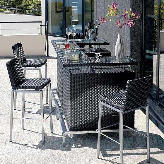 Ensemble bar ext rieur roland vlaemynck bar de jardin et for Tabouret de bar exterieur