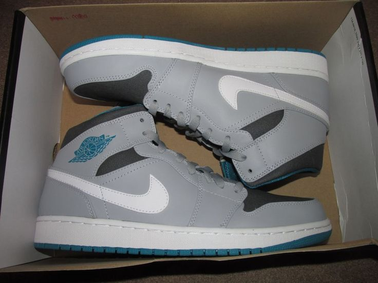Nike AIR JORDAN 1 Mid Mens Basketball Shoes 10 Wolf Grey Teal White 554724 027 #Nike #BasketballShoes