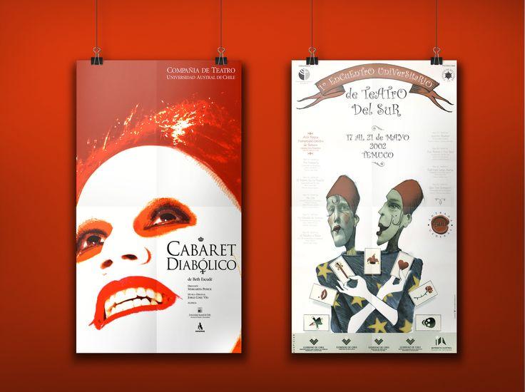 AFICHES PARA TEATRO Cabaret Diabólico. Compañía de teatro Universidad Austral de Chile (fig. izquierda) Afiche 1º Encuentro Teatro Universitario del Sur, Temuco.