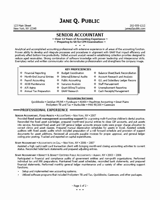 Senior Accountant Resume Sample Fresh Resume Sample Professional Resume Sample In 2020 Accountant Resume Cv Resume Sample Job Resume Template