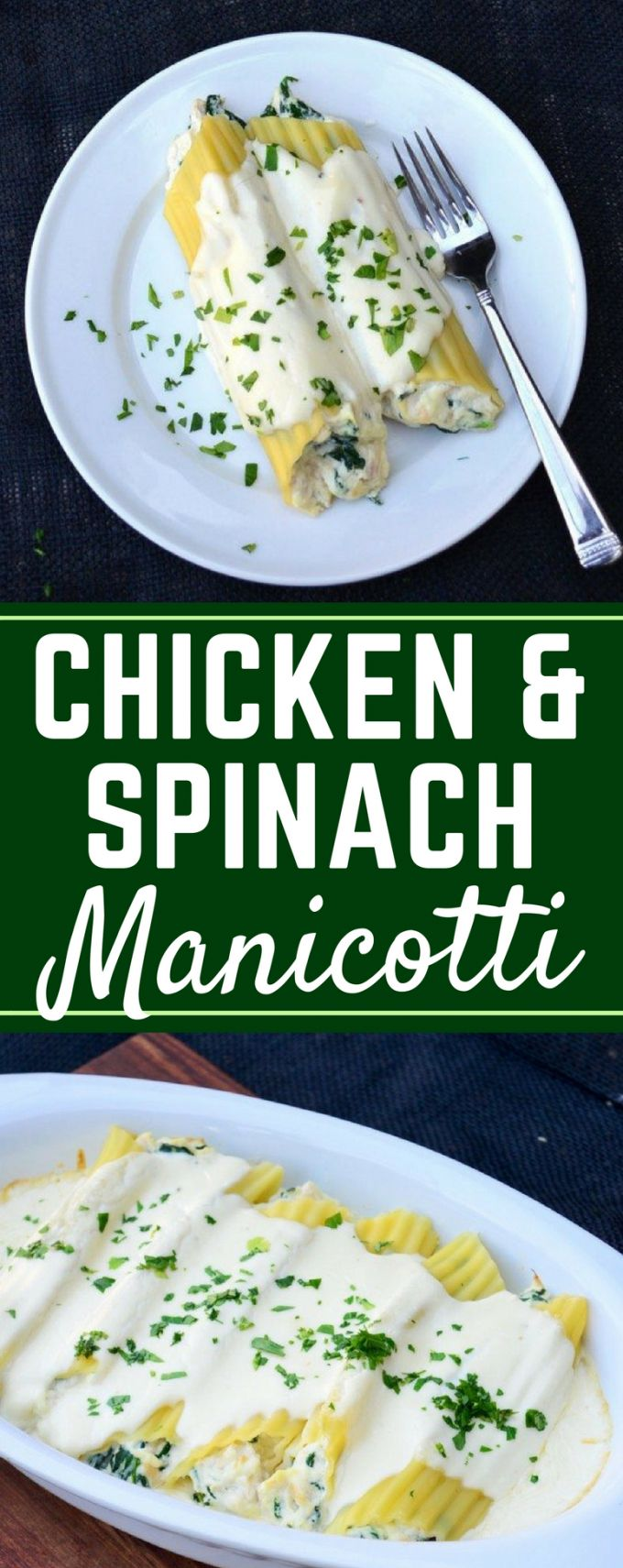 This Chicken and Spinach Manicotti is super easy to make, and smothered in a Copycat Olive Garden Alfredo Sauce. Plus, a hack for filling manicotti!