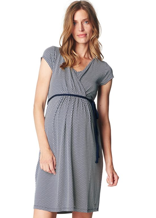 Queen Bee Flowing Maternity Nursing Dress in Night Blue Print by Esprit