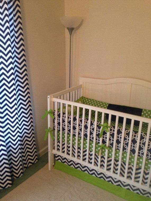 Modern navy and green crib bedding set for babies - Navy blue and green bedding ...