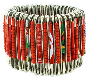 Safety Pin BraceletAfrican Crafts, Cuffs Bracelets, Elastic Bracelets, Safetypin Bracelets, Safety Pins, Recycle Coke, African Style, African Design, African Accessories
