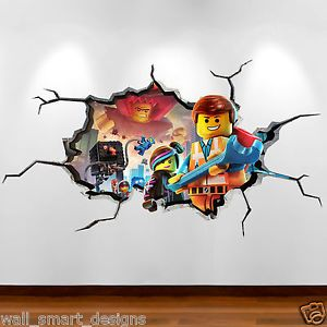 LEGO MOVIE CRACKED WALL Emmit 3D Full Colour Wall Art Sticker Decal Boys  Bedroom