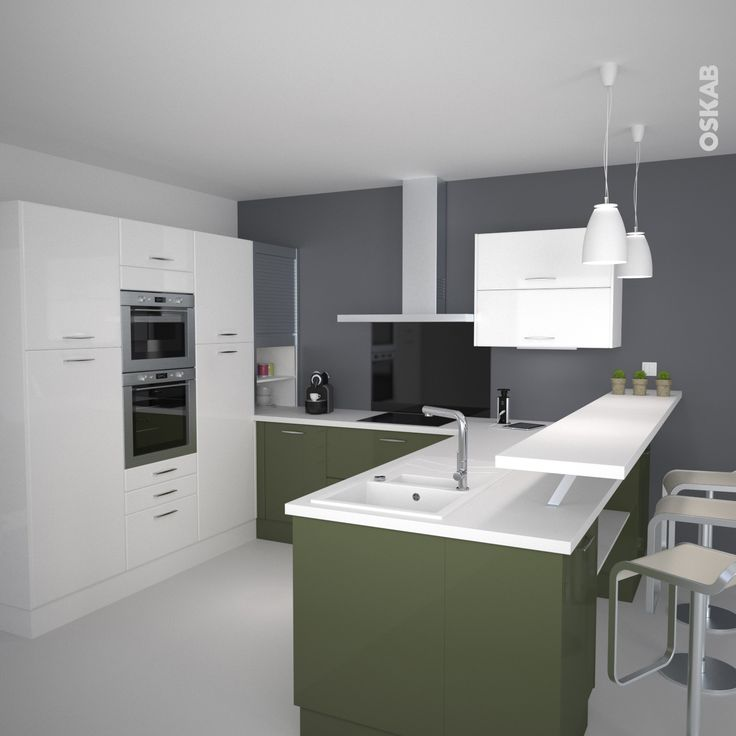 Cuisine blanche mur aubergine maison bois moderne toit for Mur cuisine aubergine