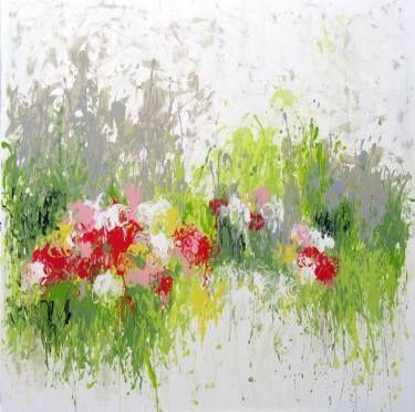"""Saatchi Art Artist Isabelle Pelletane; #Painting, """"Fresh Grass"""" #art #abstractart #abstract #nature #garden #bloom #expressionism www.isabellepelletane.com"""