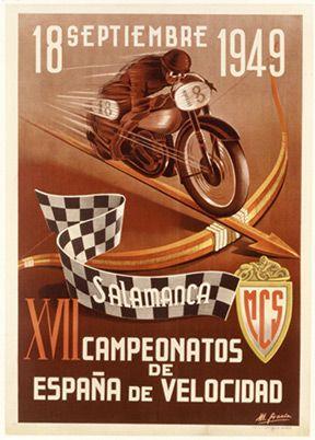 Salamanca MC Velocidad 1949 - Lmtd. Ed. Hand Numbered Fine Art Giclee Print