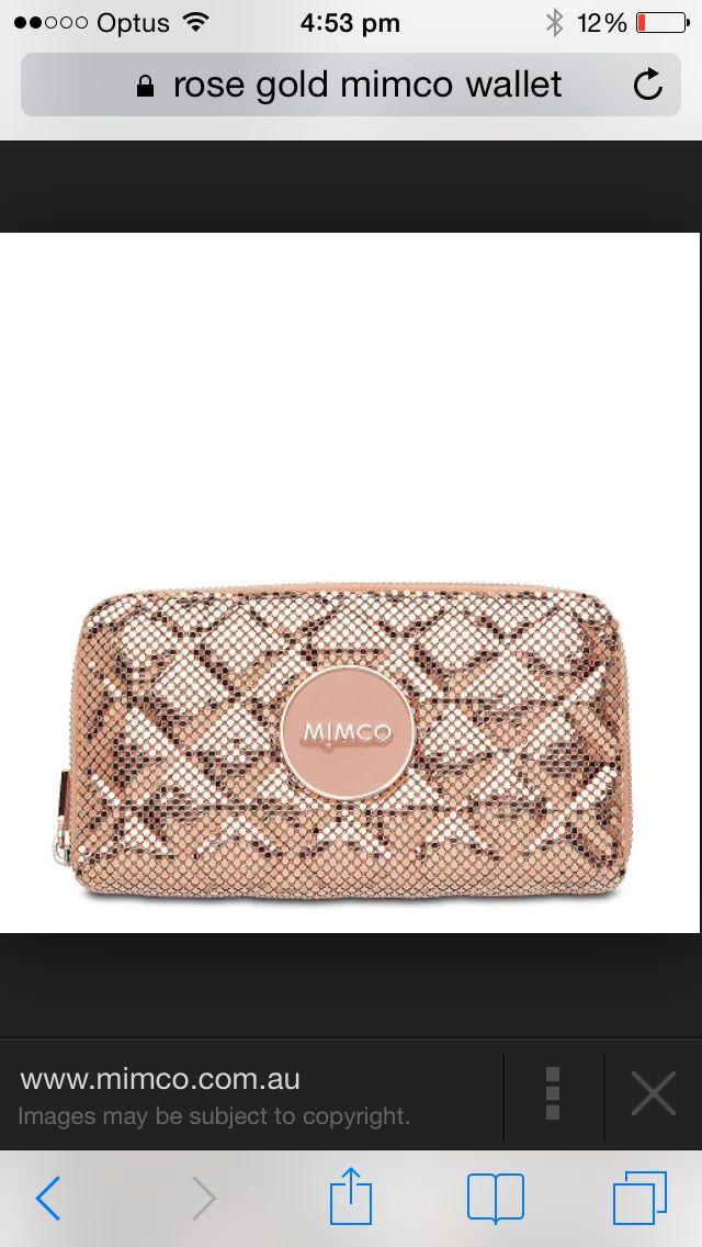 Mimco mesh rose gold wallet
