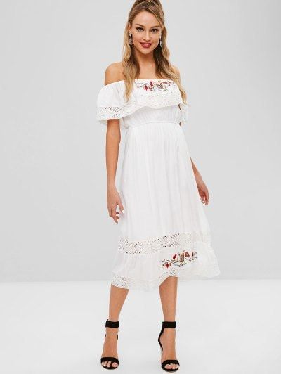 1d993a19920  25.03 - Off Shoulder Crochet Insert Embroidered Dress - White - White M -  - labeltail.com  Off  Shoulder  Crochet  Insert  Embroidered  Dress  -   White ...