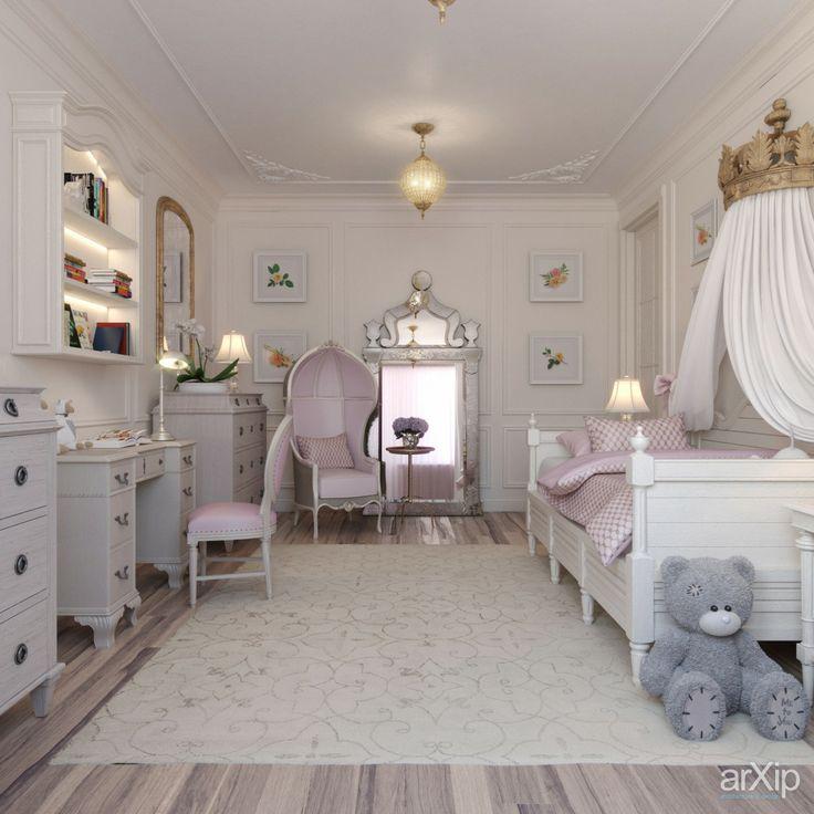 детская комната для девочки: интерьер, квартира, дом, детская комната, неоклассика, 30 - 50 м2