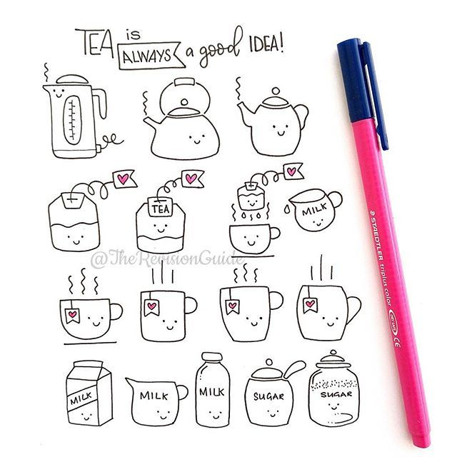 Tea is always a good idea! Cute doodles.