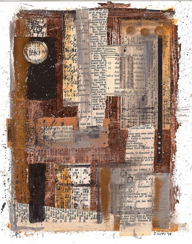 Collage - cut and paste - paper - book pages - ink - copper leaf