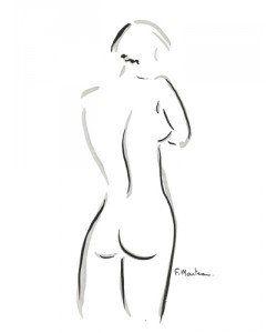 Frédérique Marteau, Ondine. – Schwarz/weiß Zeichnung Akt & Erotik, als Leinwandbild, gerahmtes Bild, Alu-Dibond,  Acrylglasbild oder Kunstdruck in …