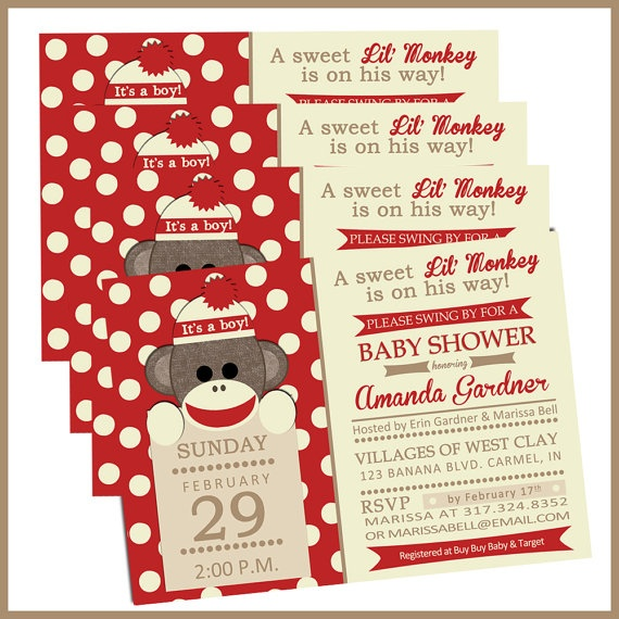 Sock Monkey Baby Shower Invitations.