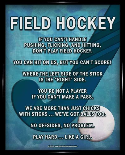"Field Hockey Stick 8x10 Poster Print. This print is full of attitude and hilarious field hockey sayings. ""You're not a player if you can't make a pass!"""