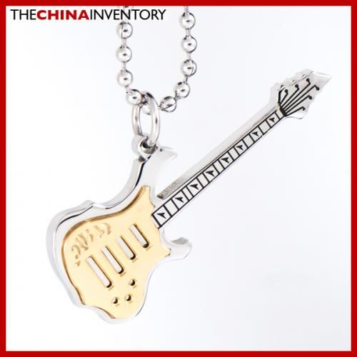 STAINLESS STEEL ELECTRIC GUITAR PENDANT NECKLACE P1705B